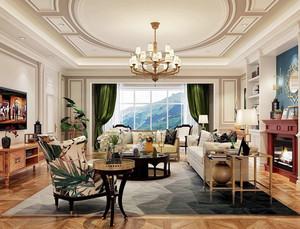 欧式田园风格大户型室内客厅窗帘设计装修效果图