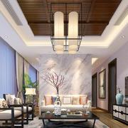 现代中式风格别墅室内客厅吸顶灯装修效果图