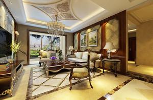 古典欧式风格别墅室内客厅欧式吊灯装修效果图