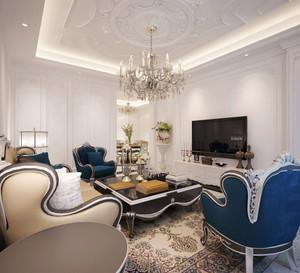 地中海风格别墅室内客厅天花吊顶装修效果图