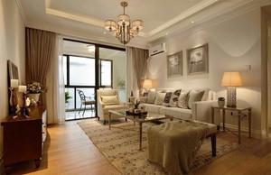 130平米美式风格两室两厅一厨一卫装修效果图