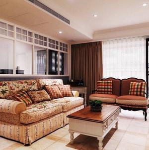 美式乡村风格两室两厅一卫装修效果图