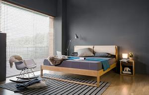 现代极简主义风格卧室实木百叶窗帘装修效果图