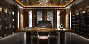 30平米现代中式风格别墅室内书房装修效果图