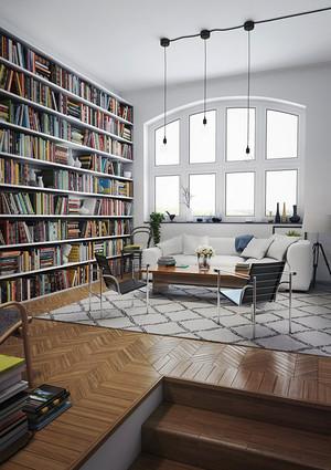 北欧风格客厅创意书架装修效果图赏析