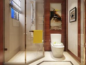 8平米现代中式风格卫生间淋浴房效果图