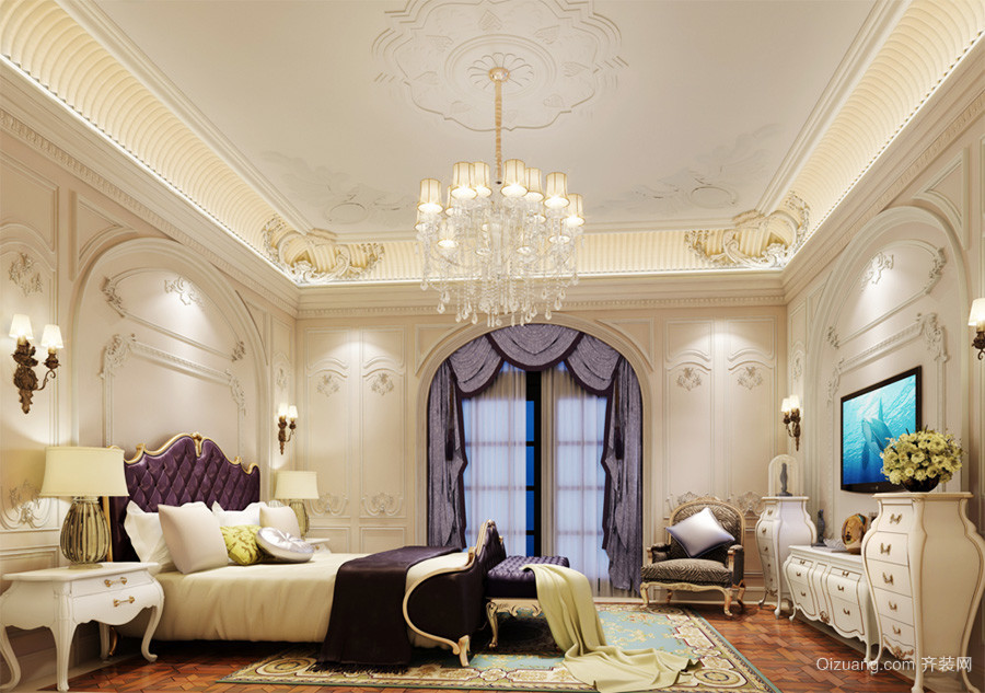 欧式风格别墅室内卧室水晶吊灯装修效果图鉴赏
