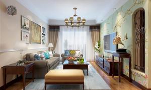 美式田园风格室内开放式客厅装修效果图赏析