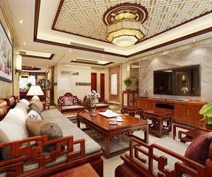 复古中式风格大户型室内客厅设计装修效果图