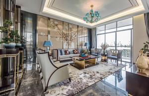 新中式风格别墅室内客厅天花吊顶设计装修效果图