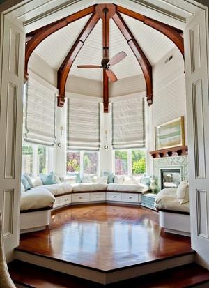 欧式田园风格别墅室内飘窗设计装修效果图