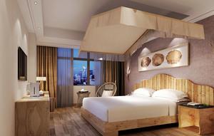 30平米东南亚风格主题宾馆客房装修效果图