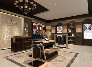 76平米现代简约风格男士服装店面设计效果图