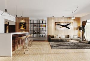 现代简约风格三居室室内客厅吧台装修效果图
