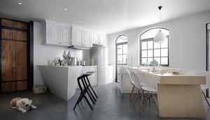 北欧风格大户型室内厨房吧台设计装修效果图