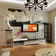 现代简约中式风格室内客厅电视背景墙壁画效果图