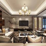 现代中式风格大户型室内客厅大理石电视背景墙装修效果图