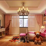 简欧风格大户型室内粉色儿童卧室装修效果图