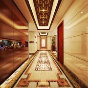 现代中式风格别墅室内过道吊顶设计装修效果图赏析