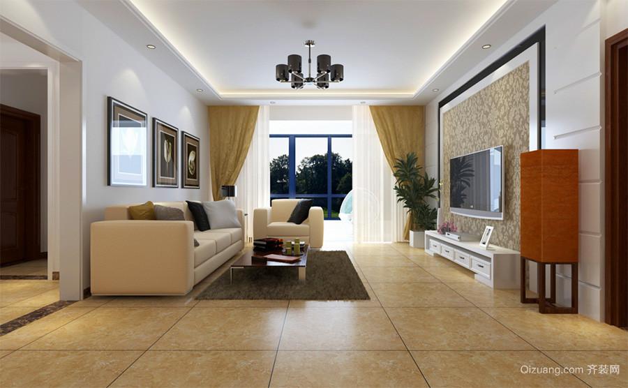 现代简约风格两居室室内客厅整体设计装修效果图