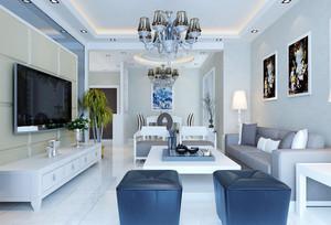 136平米简欧风格大户型室内客厅吊灯设计装修效果图