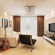 现代简约风格两居室室内客厅吊灯设计装修效果图