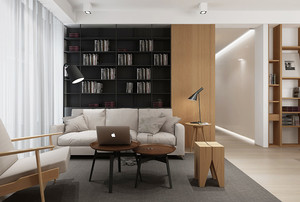 后现代风格小户型客厅简易书架装修效果图