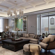 美式混搭风格大户型室内客厅吊顶设计装修效果图