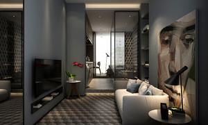 后现代风格单身公寓客厅设计装修效果图