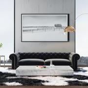 后现代简约风格大户型室内客厅照片墙效果图