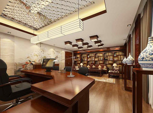 30平米中式风格别墅室内书房设计装修效果图