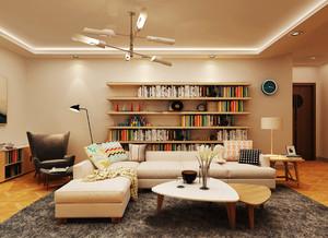都市简约风格小户型客厅创意书架装修效果图