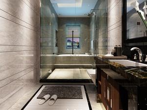 现代中式风格大户型室内卫生间玻璃隔断墙效果图