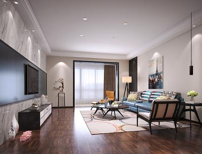 80平米现代简约风格一室一厅一卫装修效果图