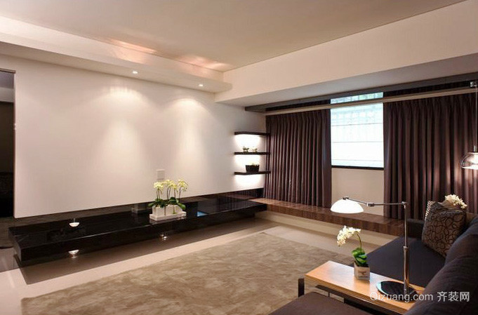 80平米現代簡約風格兩居室室內裝修效果圖