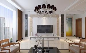 80平米新中式风格室内整体装修效果图