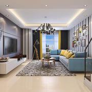 美式田园风格复式楼室内客厅照片墙装修效果图
