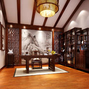 26平米中式风格书房博古架装修效果图