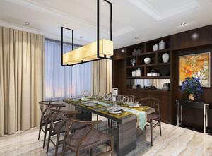 新中式风格大户型室内餐厅窗帘设计装修效果图