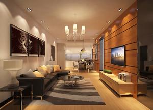 现代简约风格大户型室内客厅电视背景墙效果图