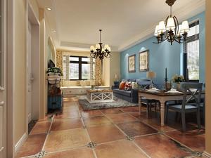 大户型蓝白经典地中海风格室内装修效果图