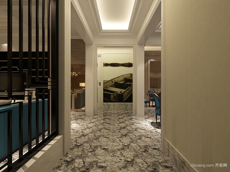 精致欧式风格大户型室内家装过道吊顶效果图