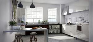 16平米北欧风格开放式厨房吧台设计装修效果图