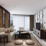 现代中式风格大户型室内客厅隔断设计效果图