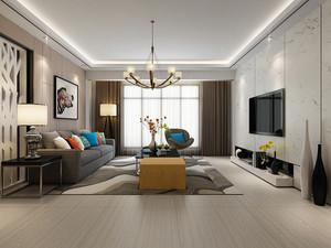 后现代简约风格客厅大理石电视背景墙装修效果图