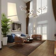 东南亚风格别墅室内中空客厅吊灯装修效果图
