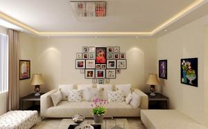 26平米简欧风格客厅照片墙装修效果图