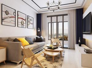 现代混搭风格客厅沙发背景墙装修效果图