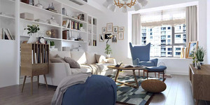 北欧风格小户型客厅简易书架装修效果图赏析