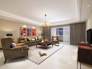 美式古典风格四室两厅两卫装修效果图